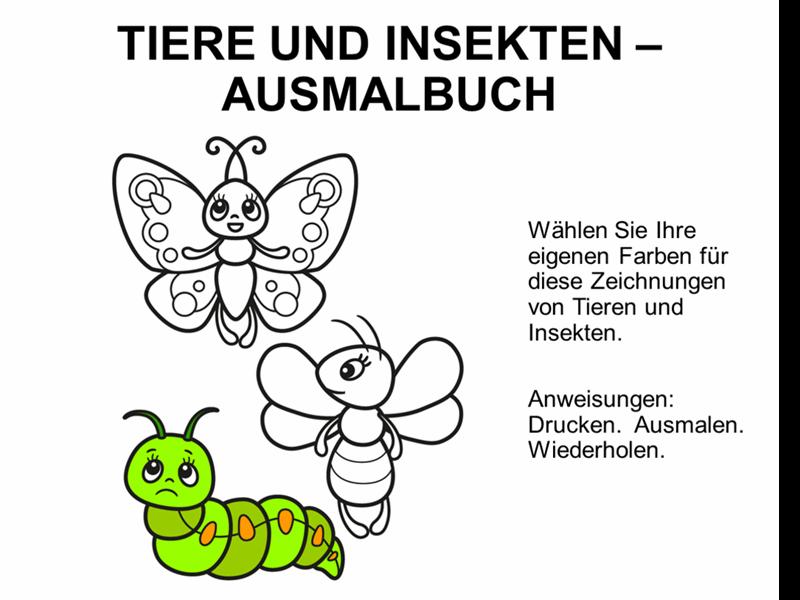 Malbuch mit Tieren und Insekten