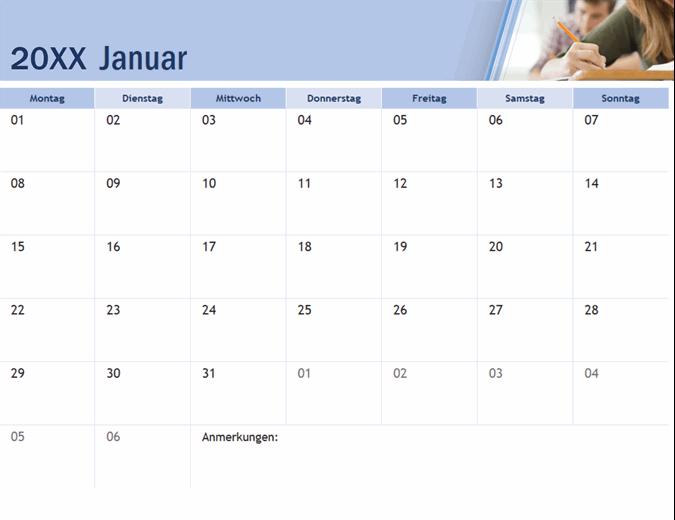Akademischer Kalender mit Fotos