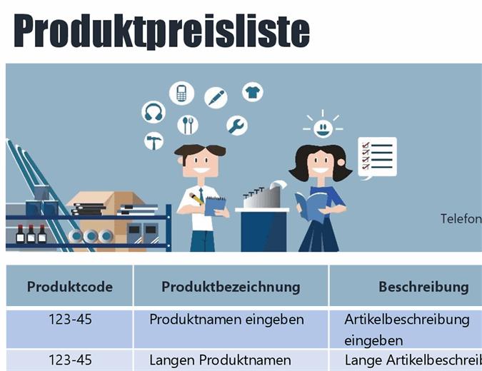 Blaue Produktpreisliste