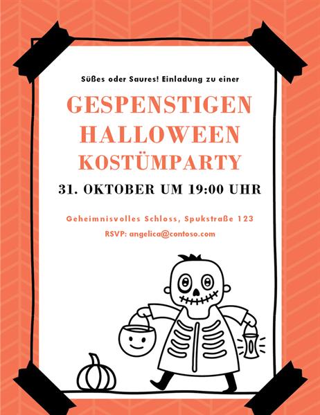 "Halloween-Einladung ""Skelett"""