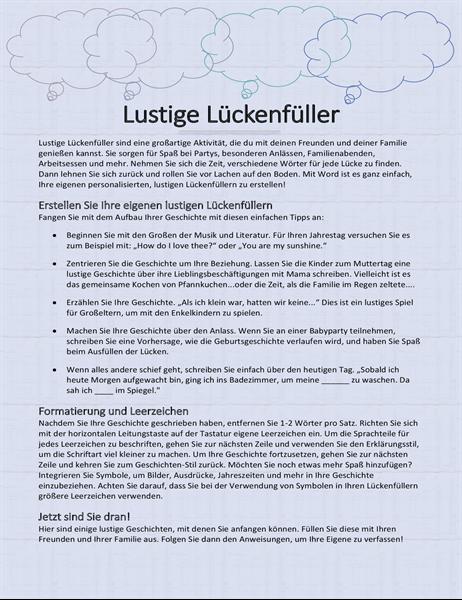 Lustige Lückenfüller-Geschichte
