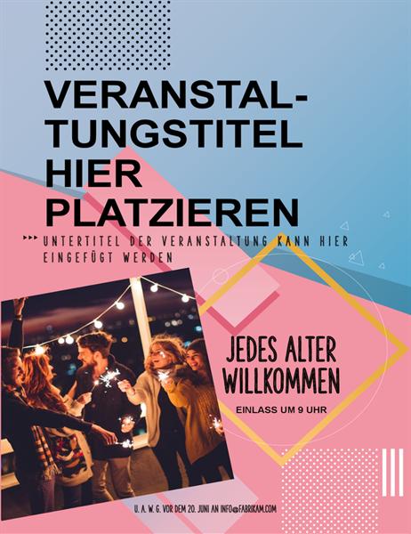 Blockiger Veranstaltungs-Flyer mit Bild