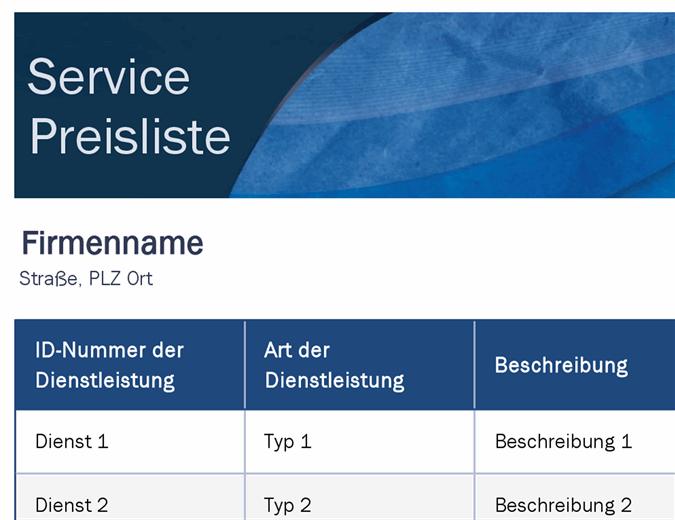 Preisliste für Dienstleistungen