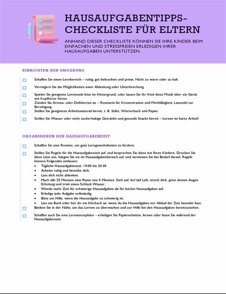 Hausaufgabentipps-Checkliste