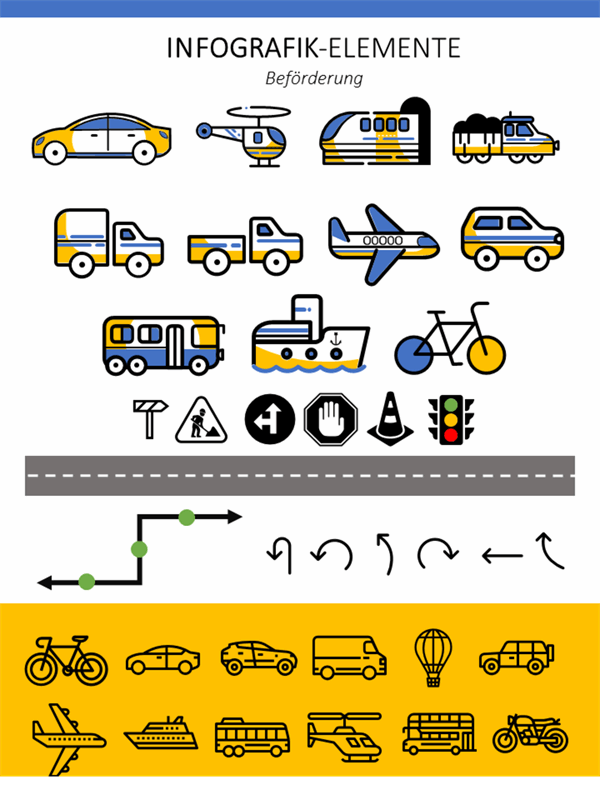Infographische Elemente Transportmittel