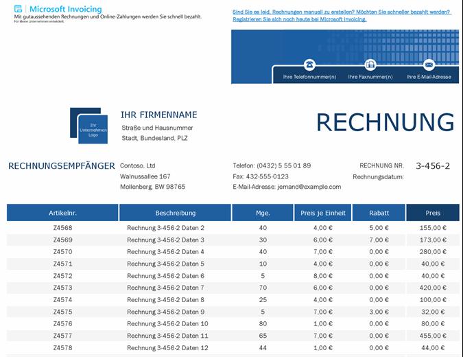 Verkaufsrechnungstracker mit Microsoft Invoicing