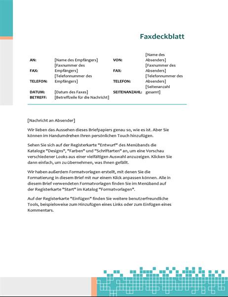 Minimalistisches technisches Faxdeckblatt