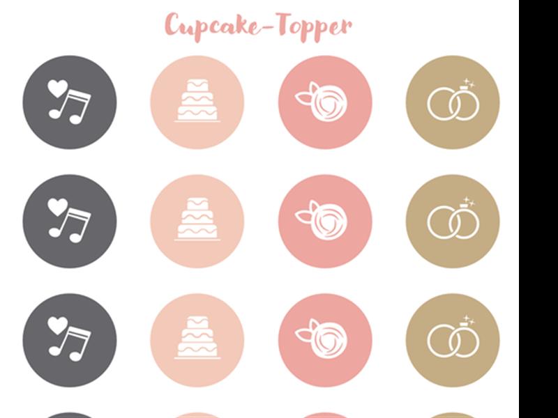 Cupcake-Toppers für die Hochzeitsparty