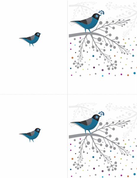 Karte mit Vögeln und Beeren