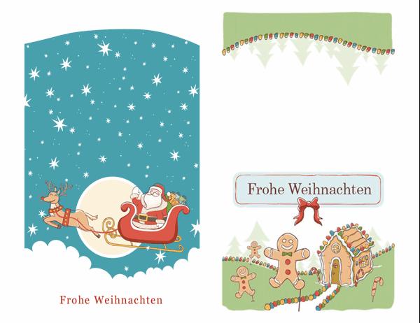 Weihnachtskarten mit Weihnachtsmann- und Lebkuchenmotiven