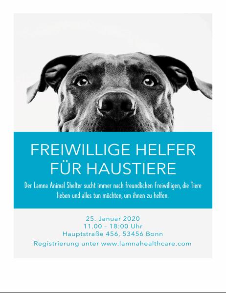 Handzettel für freiwillige Helfer für Haustiere