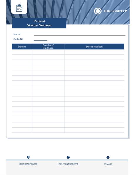 Patientenstatus-Notizen für das Gesundheitswesen