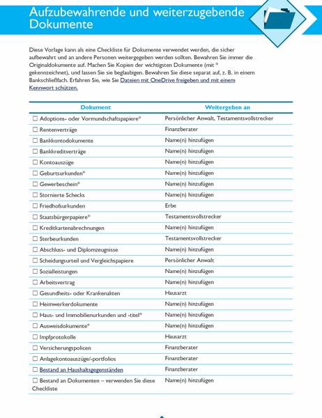 Checkliste für aufzubewahrende und weiterzugebende Dokumente