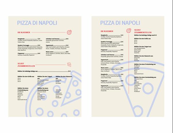 Pizza-Speisekarte