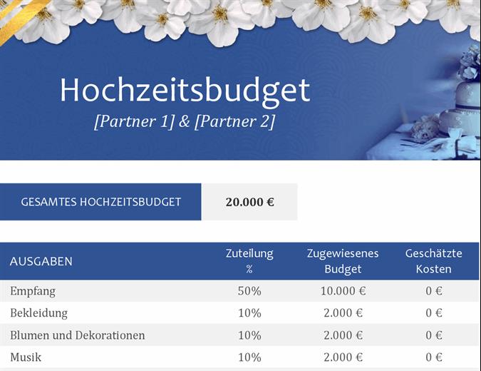 Hochzeitsbudget Tracker