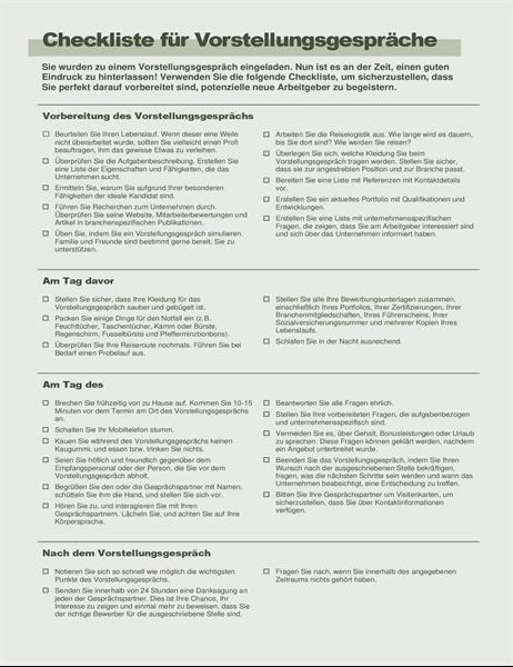 Checkliste für Vorstellungsgespräche