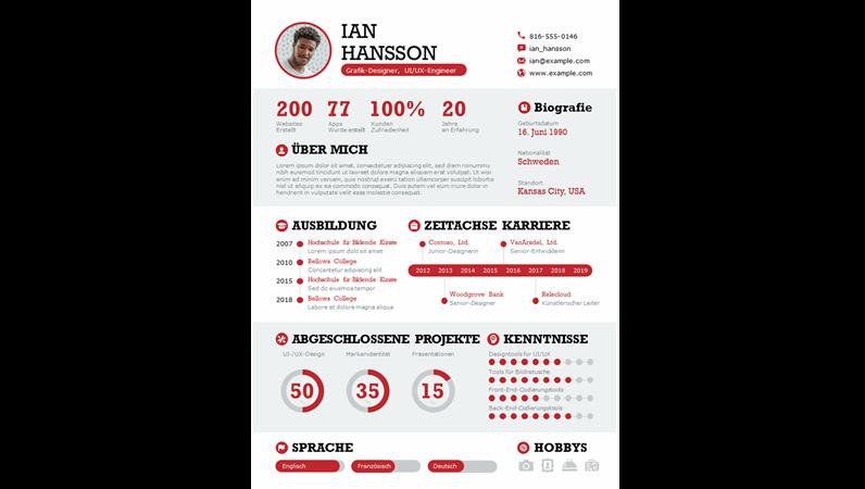 Aussagekräftiger Lebenslauf mit Infografiken