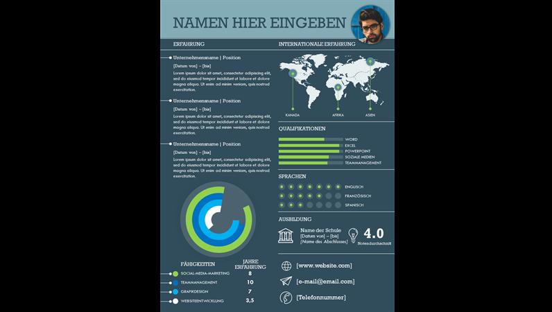 Internationaler Lebenslauf mit Infografiken