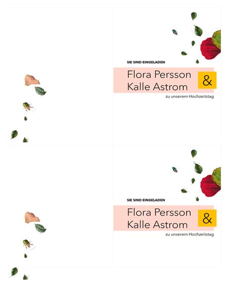 Hochzeitseinladung mit Blumen-Motiv