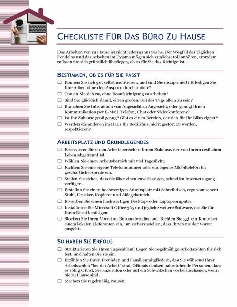 Checkliste für das Büro zu Hause