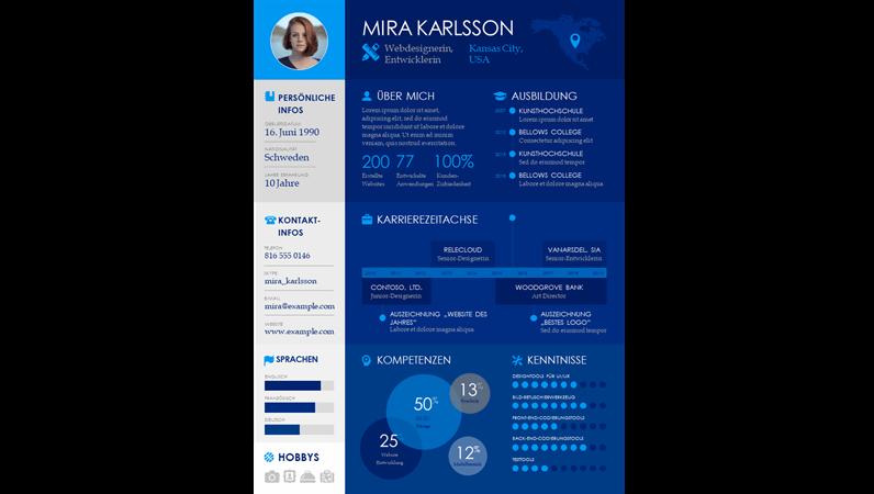 Lebenslauf mit Zeitachsen-Infografiken