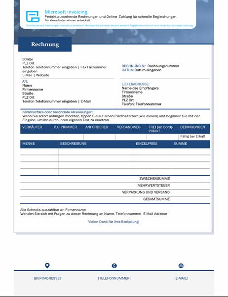 Rechnung mit Microsoft Invoicing