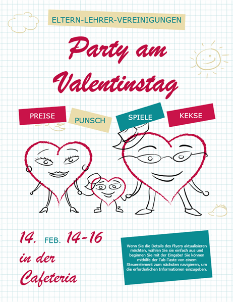 Valentinstag Handzettel mit Cartoon Herzen