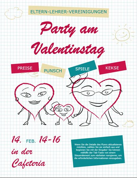 Valentinstag Handzettel mit Cartoon Herzen