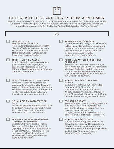 Checkliste: Dos and Don'ts beim Abnehmen