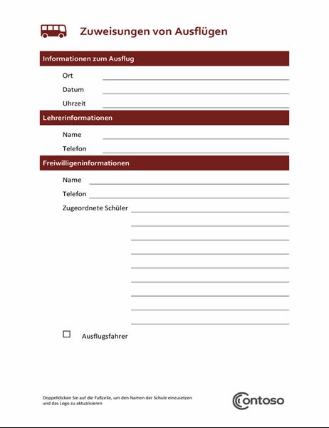 Formular zur Zuweisung von Exkursionen