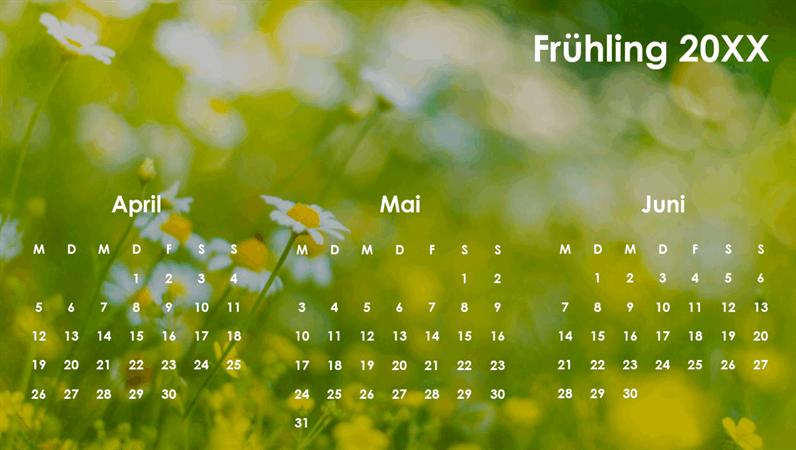 Quartalskalender zum Thema Jahreszeiten