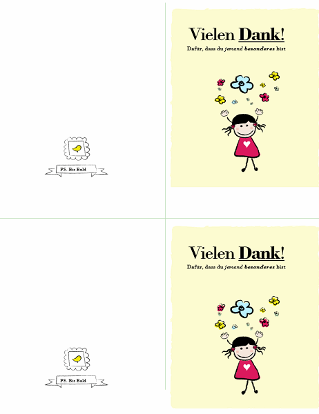 """Danksagungskarte """"kleines Mädchen"""""""