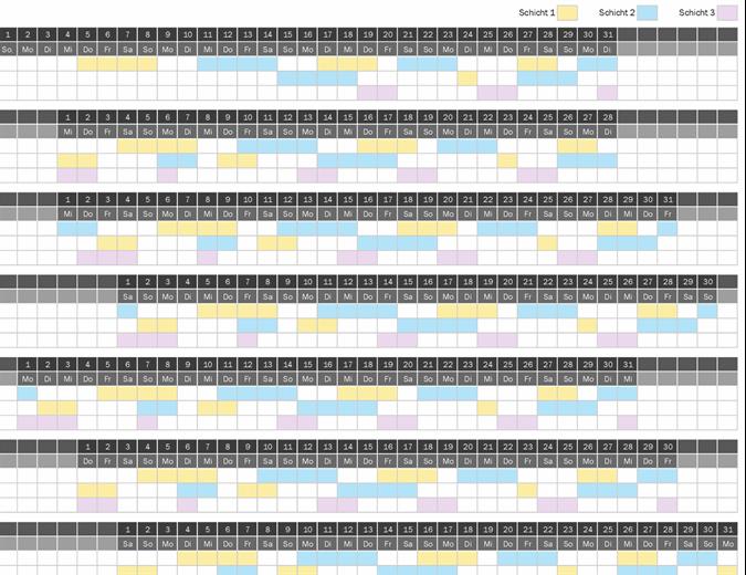 Schichtarbeits-Kalender