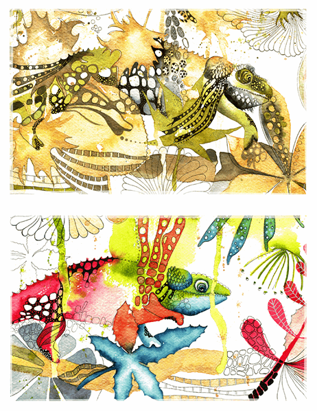 Chamäleon-Grußkarten (mittige Faltung)