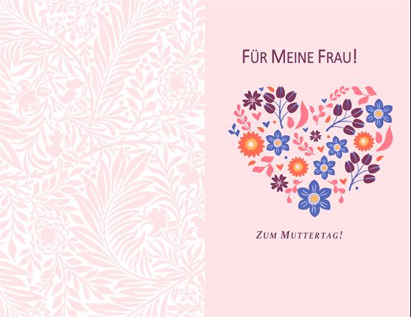 """Muttertagskarte """"florales Herz-Design"""""""
