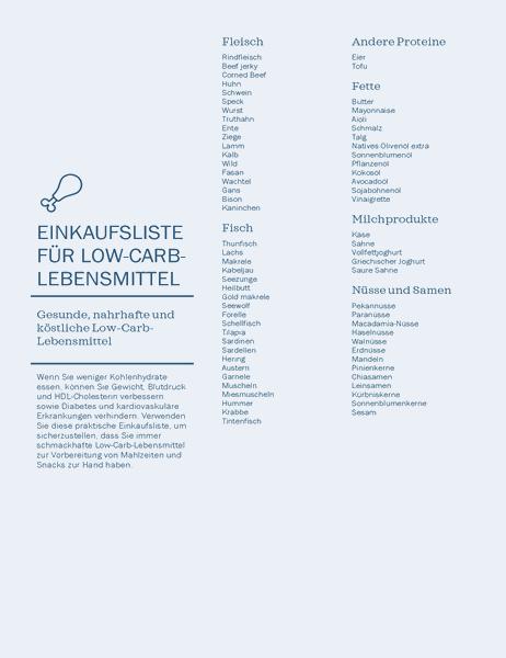 Einkaufsliste für kohlenhydratarme Lebensmittel