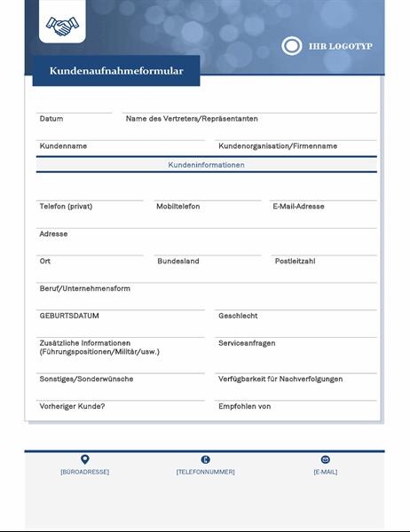 Formular zur Aufnahme von Kunden für Kleinunternehmen