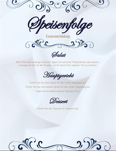 Speisekarte für eine Party in Form einer Schriftrolle