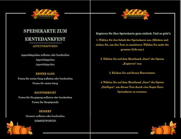 Traditionelles Menü zum Erntedankfest