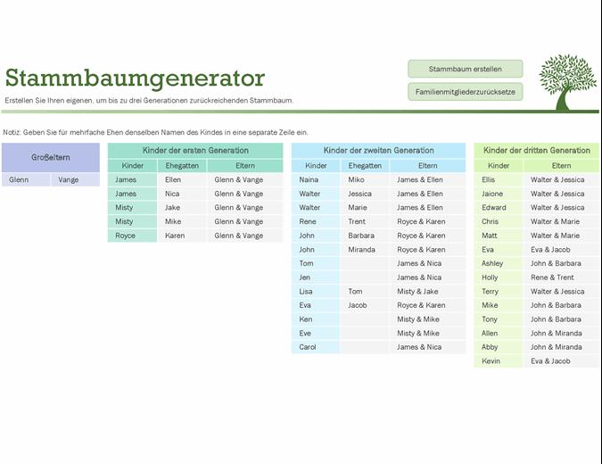 Stammbaum Vorlage Gratis Excel Word Vorlage 2