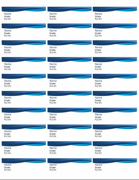 "Etiketten ""blaue Kurve"" (30 pro Seite)"