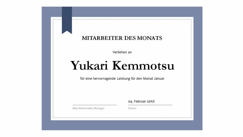 Zertifikat für den Mitarbeiter des Monats