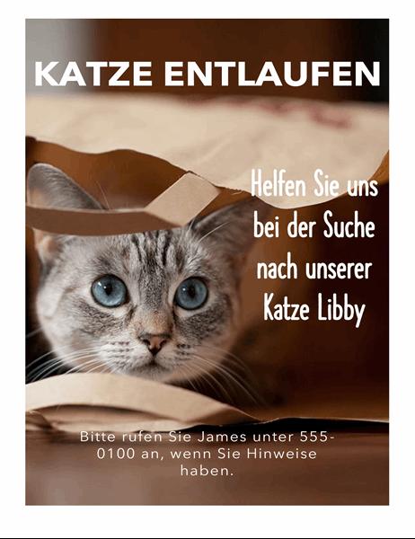 Handzettel für entlaufende Katze