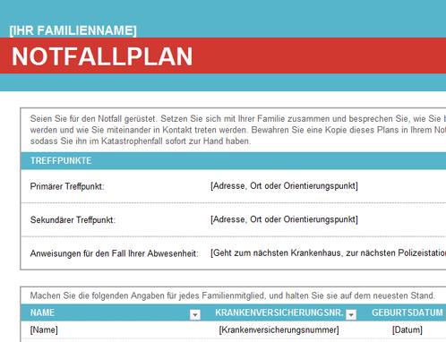 Notfallplan für die Familie