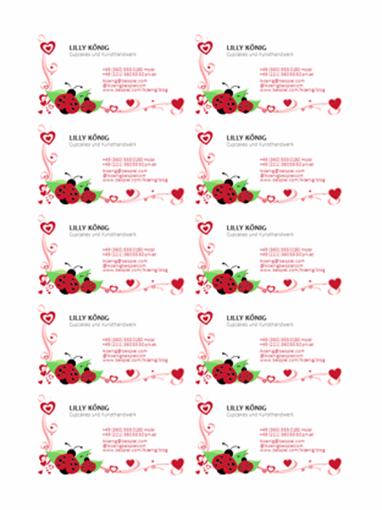 Visitenkarten (Marienkäfer und Herzen, linksbündig, 10 pro Seite)