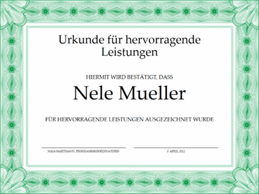 Urkunde für hervorragende Leistungen (grün)