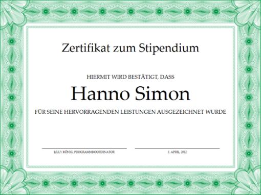 Zertifikat zum Stipendium (formeller grüner Rahmen)