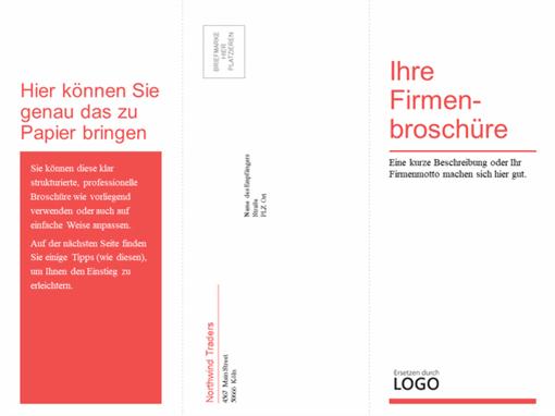 Dreifach gefaltete Geschäfts-, medizinische Broschüre (rotes, weißes Design)