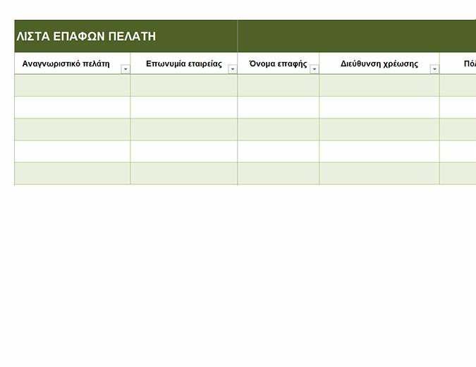 Λίστα επαφών βασικών πελατών