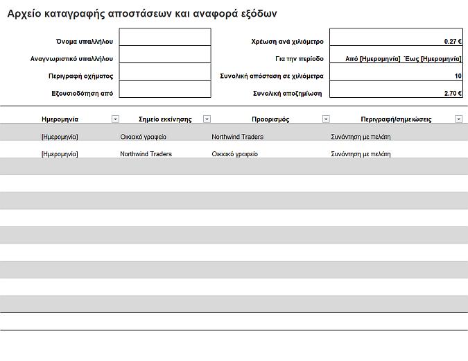 Αρχείο καταγραφής αποστάσεων και αναφορά εξόδων